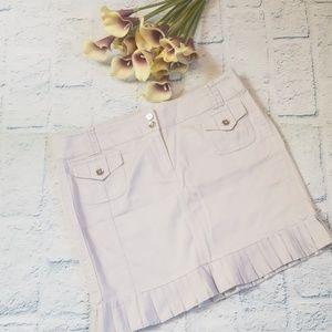 WHBM Pleated Ruffle Hem Skirt